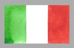 Bandera del italiano de la acuarela Ilustración del vector Foto de archivo