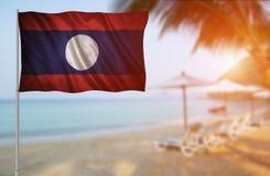 Bandera del Laos Imagenes de archivo