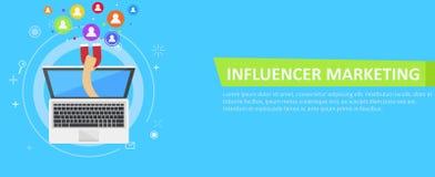 Bandera del márketing de Influencer Del ordenador viene hacia fuera una mano con un imán, llamando a usuarios ilustración del vector