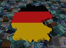Bandera del mapa de Alemania en el ejemplo de los euros ilustración del vector