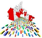 Bandera del mapa de Canadá con los envases Imágenes de archivo libres de regalías