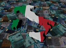 Bandera del mapa de Italia en el ejemplo de los euros libre illustration
