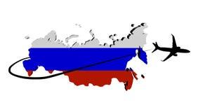 Bandera del mapa de la Federación Rusa con el avión y el ejemplo de Swoosh Imagenes de archivo