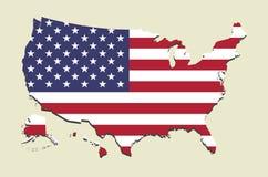 Bandera del mapa de los E.E.U.U. Foto de archivo libre de regalías
