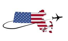 Bandera del mapa de Massachusetts con el avión y el ejemplo de Swoosh 3d Fotos de archivo libres de regalías