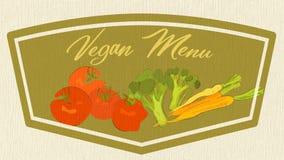 Bandera del menú del vegano Tarjeta con el ejemplo de tomates, de zanahorias y del bróculi ilustración del vector