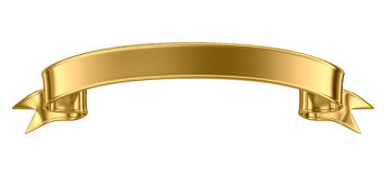 Bandera del metal del oro Foto de archivo libre de regalías