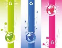 Bandera del mundo de Eco stock de ilustración