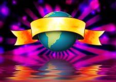 Bandera del mundo del globo Imagen de archivo libre de regalías