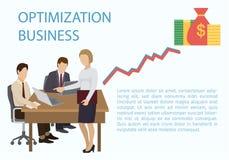 Bandera del negocio de la optimización Cartel asesor del grupo, ejemplo del vector de la bandera Equipo que analiza la auditoría, stock de ilustración