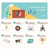 Bandera del negocio e infographic Fotografía de archivo libre de regalías