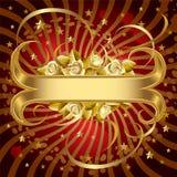Bandera del oro con las rosas Imagen de archivo libre de regalías
