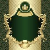Bandera del oro del vintage con una corona en backgroun barroco verde oscuro Fotografía de archivo libre de regalías