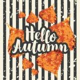 Bandera del otoño con las hojas brillantes del álamo del otoño Foto de archivo libre de regalías