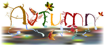 Bandera del otoño de ramas y de hojas ilustración del vector