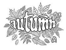 Bandera del otoño en estilo del garabato Imágenes de archivo libres de regalías