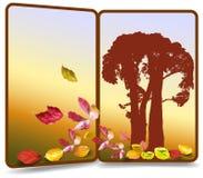 Bandera del otoño en la forma de la puerta con la silueta de árboles y de hojas coloridas libre illustration