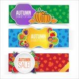 Bandera del otoño fijada con las frutas y verduras Fotografía de archivo