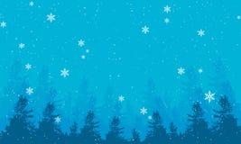 Bandera del paisaje de la tarde del invierno con las nevadas y los tops de abetos ilustración del vector