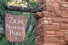 Bandera del parque nacional de Zion Fotografía de archivo