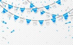 Bandera del partido de la celebración Confeti de la hoja azul y de plata y guirnalda de la bandera Ilustración del vector ilustración del vector