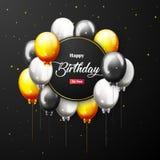 Bandera del partido del feliz cumpleaños de la celebración con los globos de oro Fotos de archivo libres de regalías
