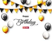 Bandera del partido del feliz cumpleaños de la celebración con los globos de oro Fotos de archivo