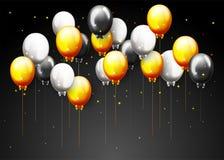 Bandera del partido del feliz cumpleaños de la celebración con los globos de oro Fotografía de archivo libre de regalías