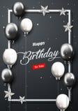 Bandera del partido del feliz cumpleaños de la celebración con los globos de plata y negros Fotos de archivo libres de regalías