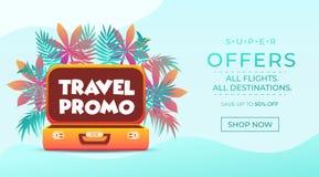 Bandera del promo del viaje Diseño del cartel de las vacaciones Concepto de la bandera de la web el viajar y del turismo Fondo de stock de ilustración