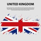 Bandera del Reino Unido de Gran Bretaña e Irlanda del Norte, fondo del movimiento del cepillo Indicador de Reino Unido Imagen de archivo