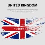 Bandera del Reino Unido de Gran Bretaña e Irlanda del Norte, fondo del movimiento del cepillo Indicador de Reino Unido Fotografía de archivo libre de regalías
