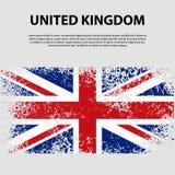 Bandera del Reino Unido de Gran Bretaña e Irlanda del Norte, fondo del movimiento del cepillo Indicador de Reino Unido Imágenes de archivo libres de regalías