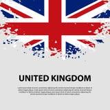 Bandera del Reino Unido de Gran Bretaña e Irlanda del Norte, fondo del movimiento del cepillo Indicador de Reino Unido Foto de archivo libre de regalías
