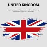 Bandera del Reino Unido de Gran Bretaña e Irlanda del Norte, fondo del movimiento del cepillo Indicador de Reino Unido Imagenes de archivo