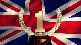 Bandera del Reino Unido y del trofeo almacen de video