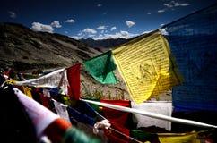 Bandera del rezo de Tíbet Foto de archivo libre de regalías