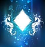 Bandera del Rhombus con el seahorse ilustración del vector