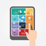 Bandera del rompecabezas de la plantilla de la tableta del empuje del finger de Infographic. Fotografía de archivo