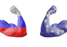 Bandera del ruso y de unión de Europa Imagen de archivo libre de regalías