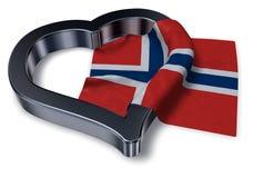 Bandera del símbolo de Noruega y del corazón Fotos de archivo libres de regalías