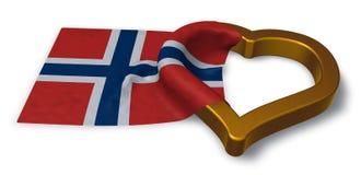 Bandera del símbolo de Noruega y del corazón Imágenes de archivo libres de regalías