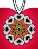 Bandera del saludo con el colgante redondo de corazones Foto de archivo libre de regalías