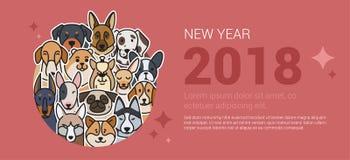 Bandera del saludo de la plantilla con los perros ilustración del vector