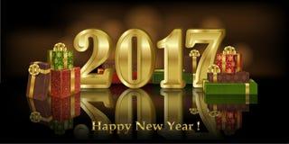 Bandera del saludo del Año Nuevo con las cajas de regalo y la fecha de oro 2017 Imagen de archivo libre de regalías