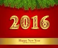 Bandera del saludo del Año Nuevo con las ramas y la fecha de oro 2016 del abeto libre illustration