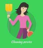 Bandera del servicio de la limpieza Fotos de archivo