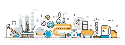 Bandera del sitio web del proceso de la industria de la producción petrolífera de petróleo y gas stock de ilustración