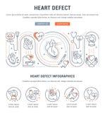 Bandera del sitio web y página del aterrizaje del defecto del corazón ilustración del vector