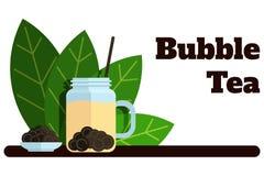 Bandera del té de la burbuja con las etiquetas planas del vector de las hojas de té stock de ilustración
